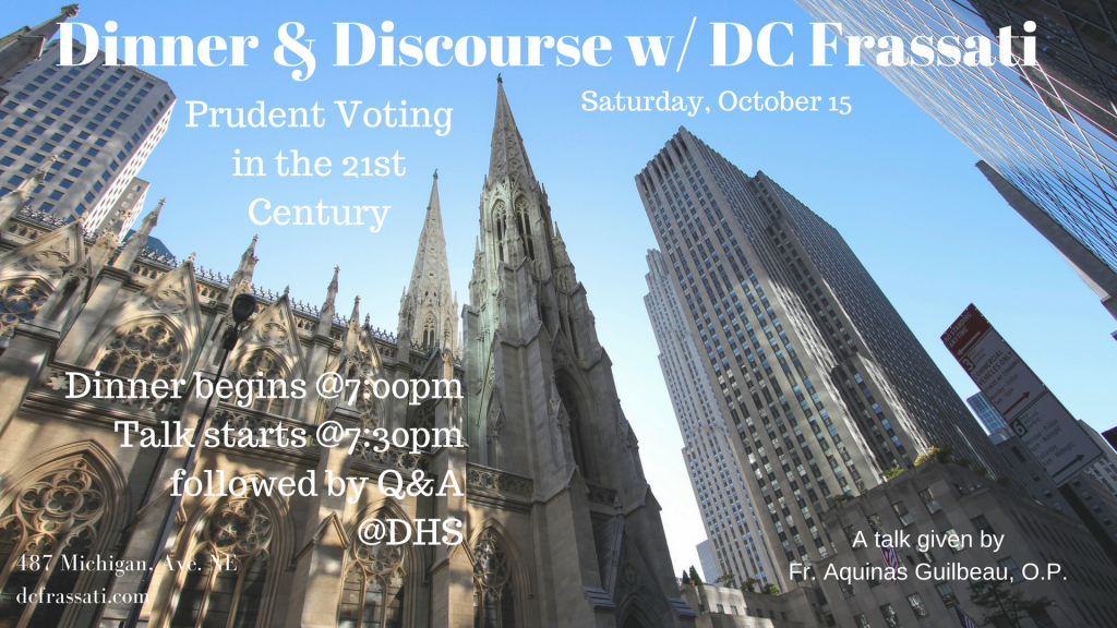 Join us for Dinner & Discourse. Fr. Aquinas Guilbearu
